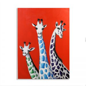 wandbild-oelbild-giraffen
